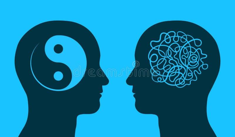 Yin Yang und Chaossymbol in denkenden Köpfen lizenzfreie abbildung