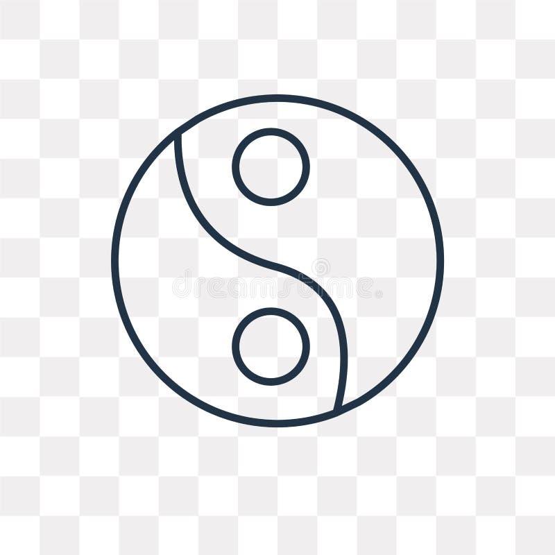 Yin yang vector icon isolated on transparent background, linear. Yin yang vector outline icon isolated on transparent background, high quality linear Yin yang stock illustration