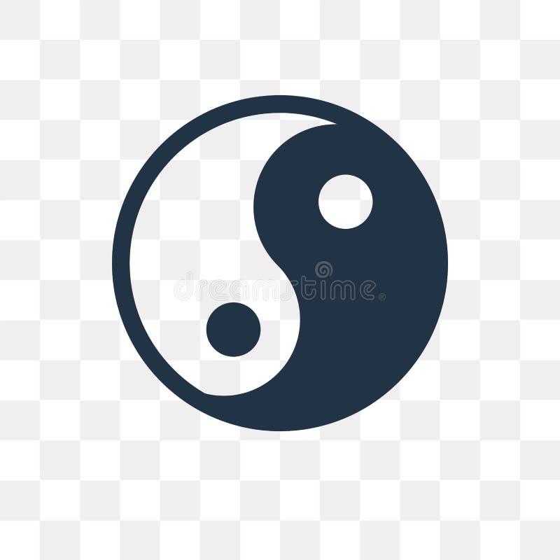 Yin yang vectordiepictogram op transparante achtergrond, Yin wordt geïsoleerd yan royalty-vrije illustratie