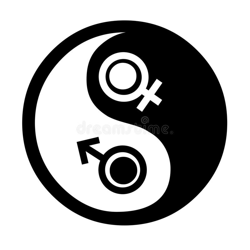 Yin Yang with Venus and Mars stock illustration