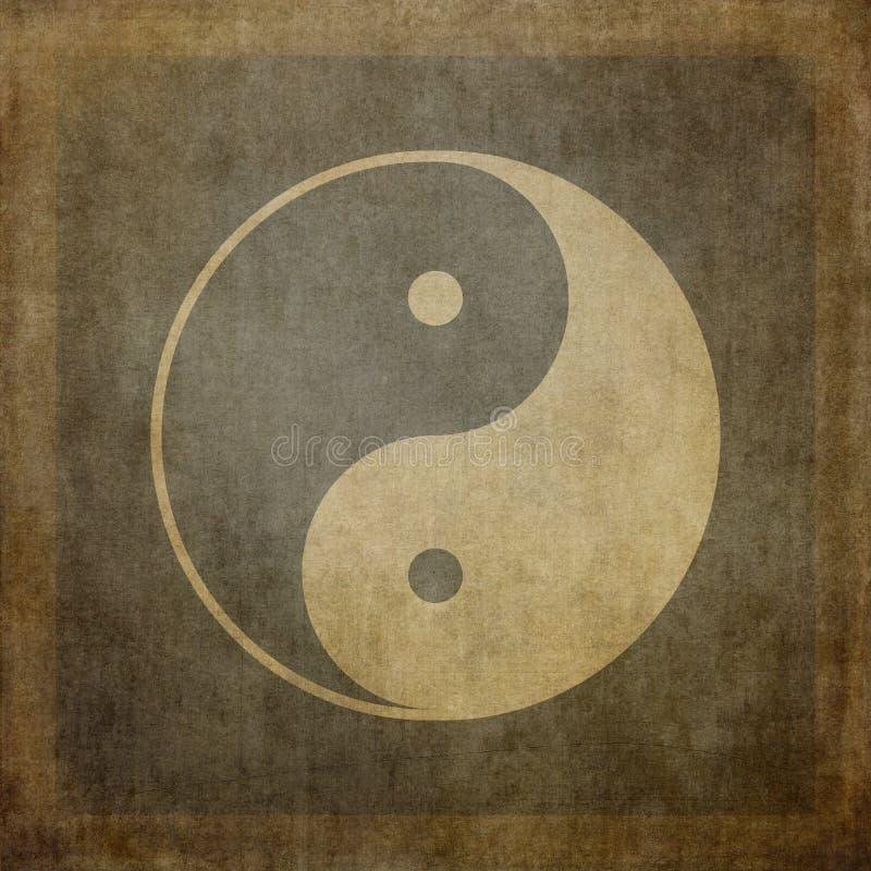Yin yang vintage. Yin yang symbol on vintage, textured background royalty free illustration