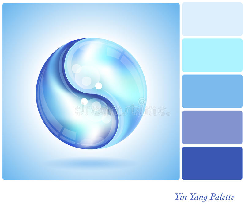 Yin Yang water drop palette. Two water drops forming the shape of a Yin Yang. In a colour palette with complimentary colour swatches. EPS10 vector format royalty free illustration