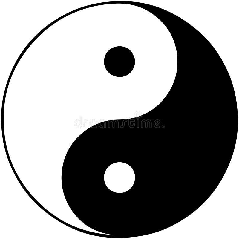 Yin Yang in wit wordt geïsoleerd dat vector illustratie