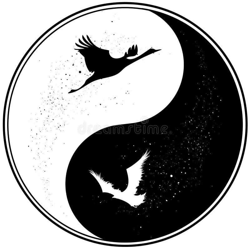Yin Yang witn żuraw i kruk ilustracja wektor