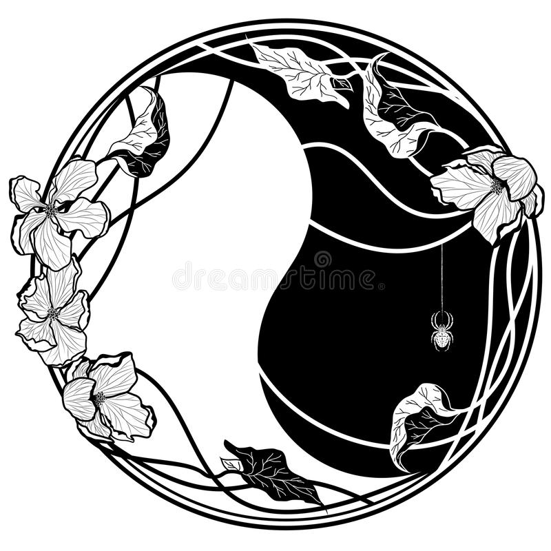 Yin Yang witn jabłka kwiaty royalty ilustracja