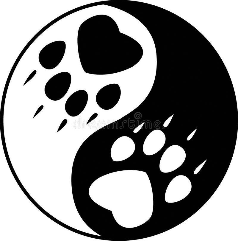 Yin Yang Wolf. Isolated illustration of vector yin yang wolf royalty free illustration