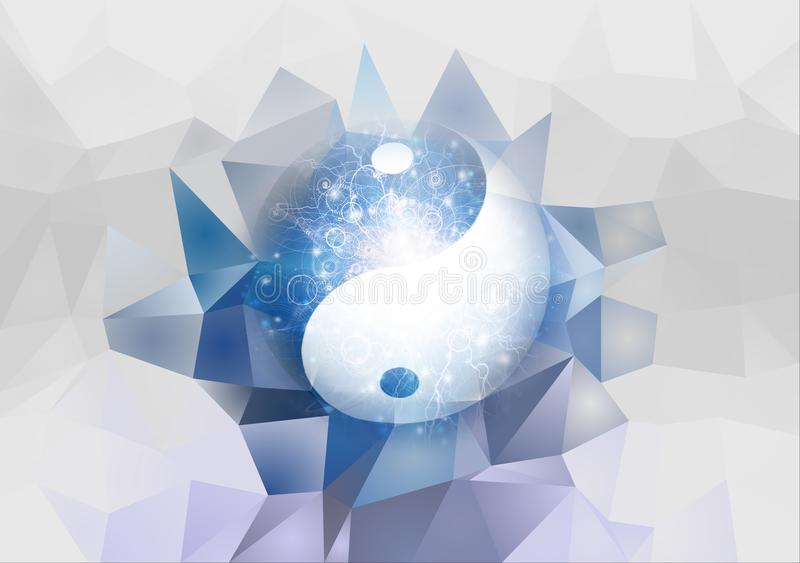 Yin Yang. Symbol is contained inside of glass sphere. 3D rendering royalty free illustration
