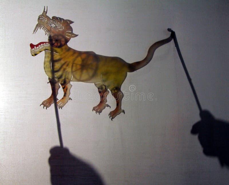 YINCHUAN, CHINA - traditionelle Chinesen beschatten Marionette lizenzfreie stockfotos