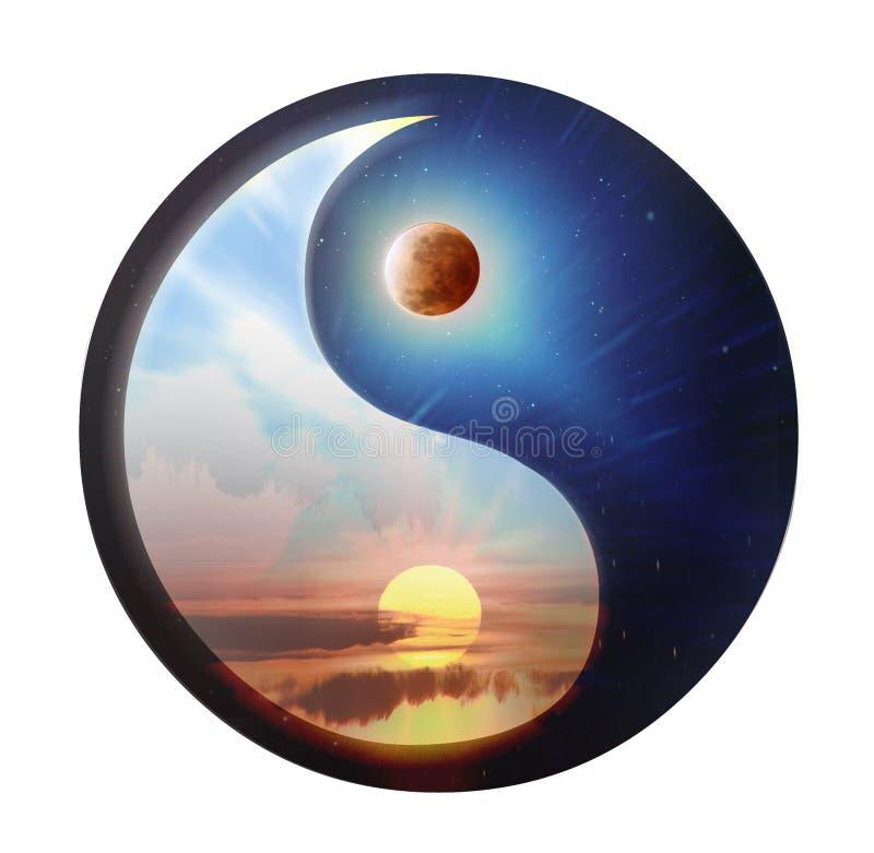 Ying και yang - φεγγάρι και νύχτα διανυσματική απεικόνιση