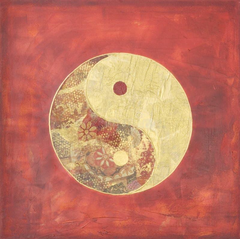 Ying e colagem de yang ilustração stock