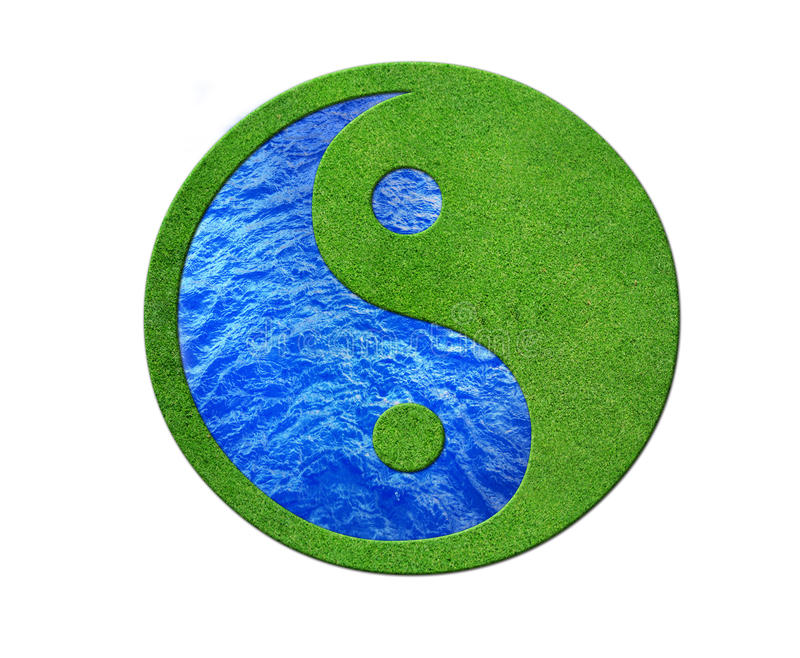 Ying yang. 2 Elements in balance, desert and gras stock illustration
