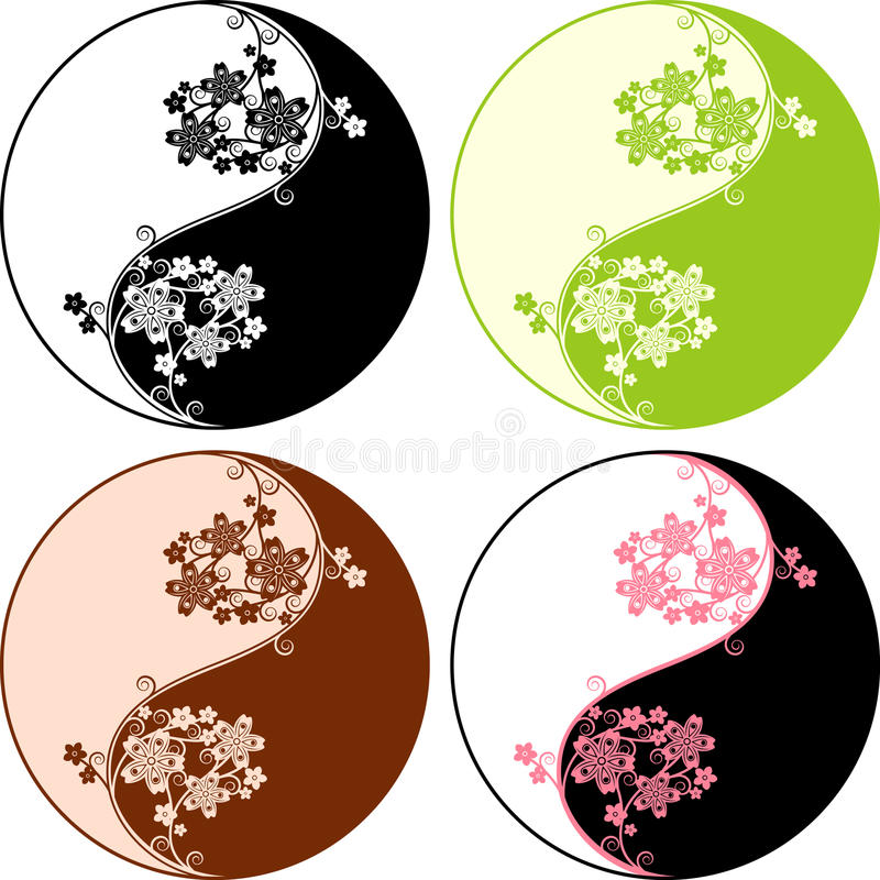 Ying Yang. The floral Ying Yang symbol with the sakura brannches and flowers vector illustration