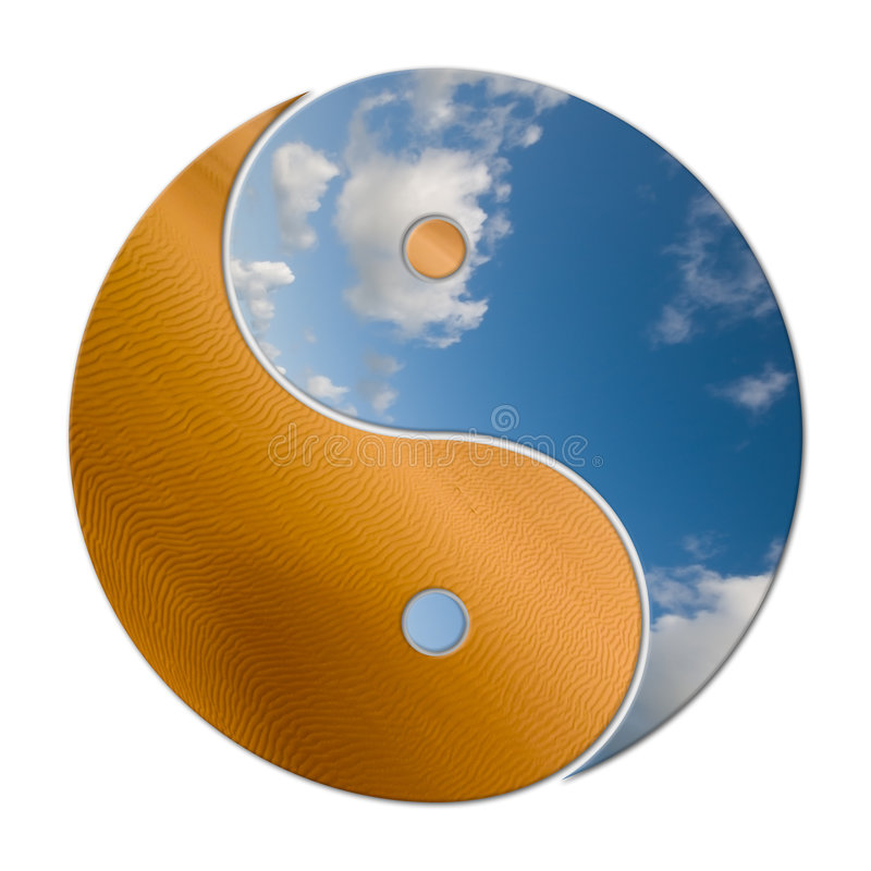 Ying Yang 2 Elements. In balance, earth and sky vector illustration