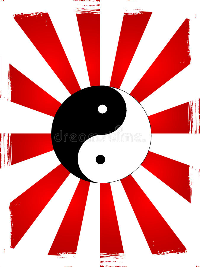 Ying Yang. Abstract grunge background royalty free illustration