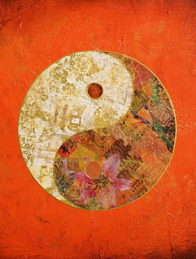 Ying and yang. Collage artwork ying and yang on orange background, artwork is created and made by myself