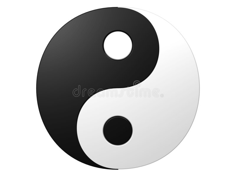 Ying yang. An isolated black and white ying-yang symbol on white background