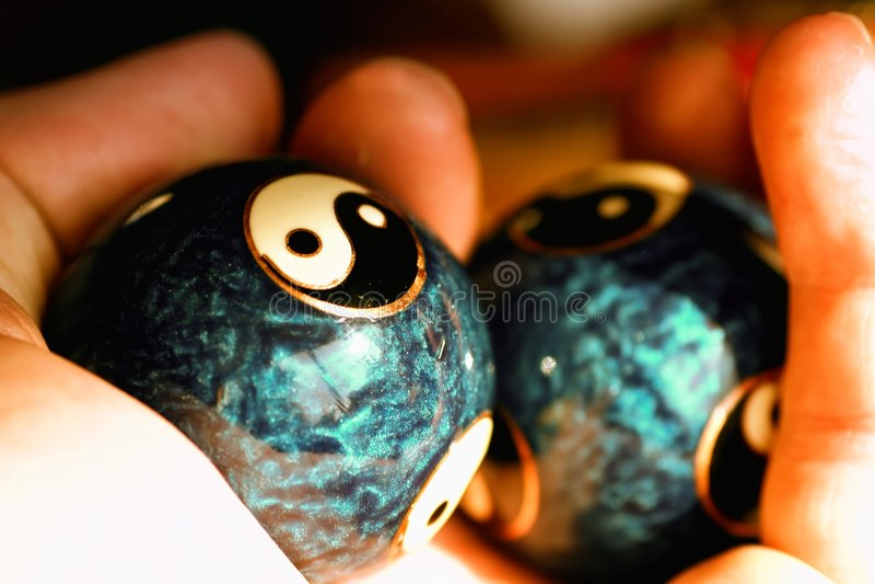 Ying Yang balls stock photo
