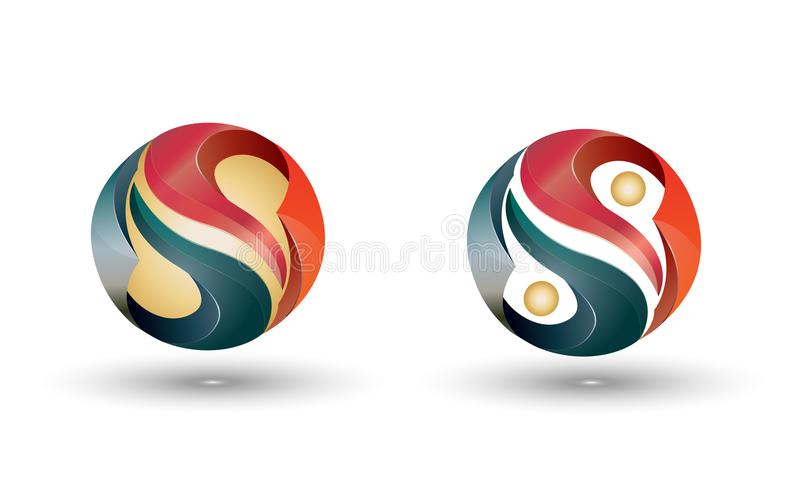 Yin Yang 3D logo. 3D logo design, yin - yang symbol on white background. Company logo in earth tones, green red and gold gradients vector illustration