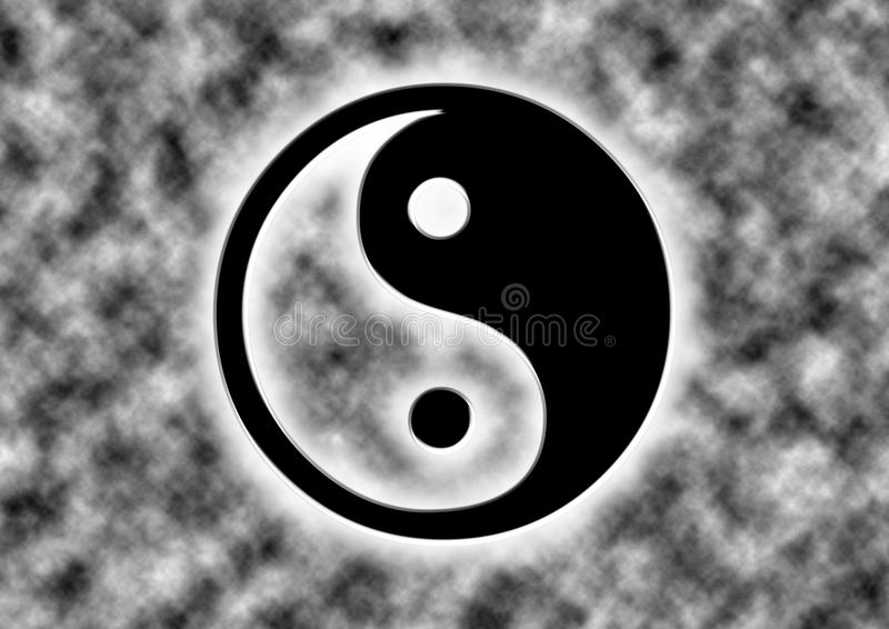 Ying yang zen dramatically with clouds stock illustration