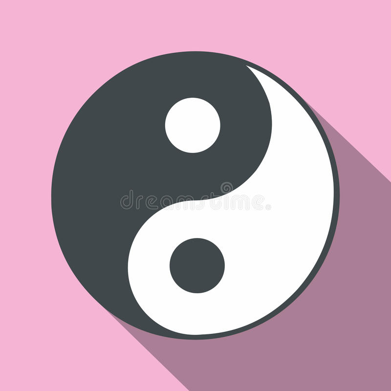 Ying yang flat icon royalty free illustration