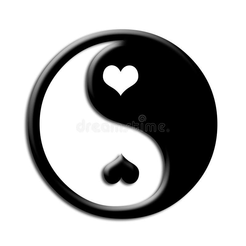 Ying yang hearts illustration contrast royalty free illustration