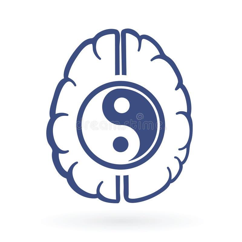 Ying-yang and human brain symbols. As positive energy life balance concept vector illustration stock illustration