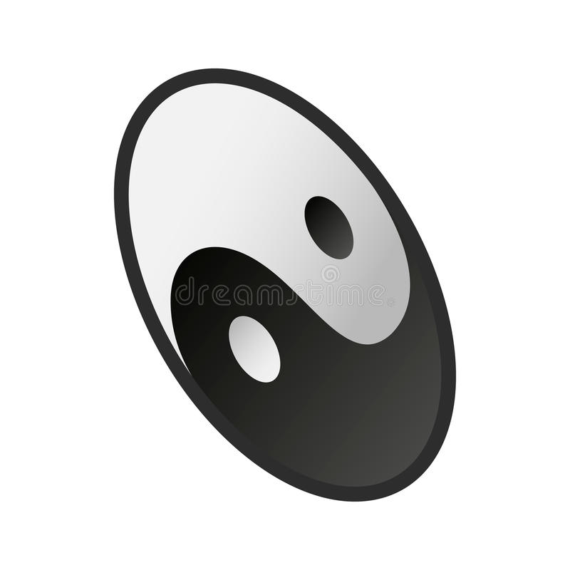 Ying yang icon, isometric 3d style stock illustration