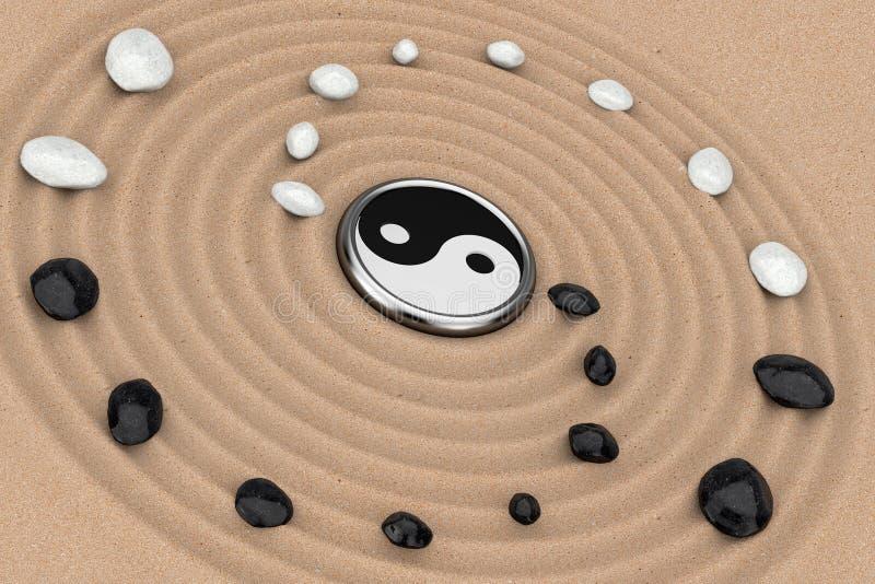 Ying Yang Sign com as pedras brancas e pretas sobre Zen Meditation Sand Garden rendição 3d ilustração do vetor