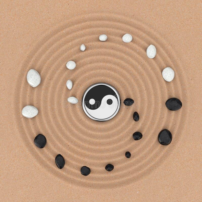 Ying Yang Sign com as pedras brancas e pretas sobre Zen Meditation Sand Garden rendição 3d ilustração royalty free