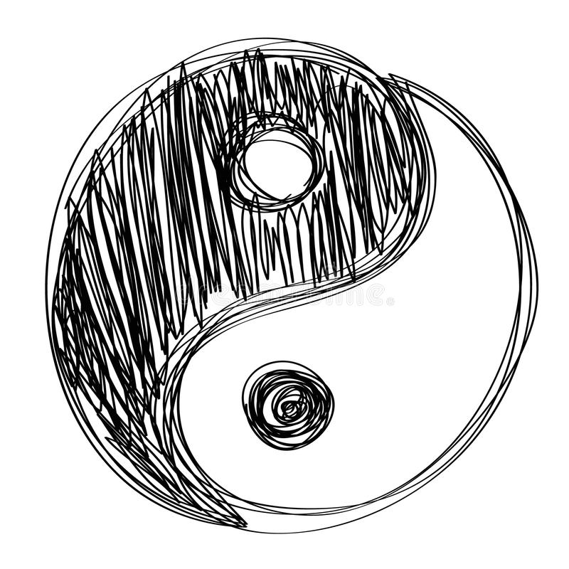 Ying yang sign habd drawn royalty free illustration