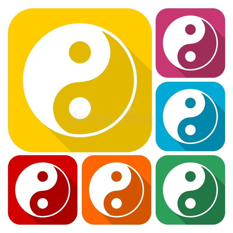 Ying Yang Symbol Of Harmony And Balance Icons Set With Long Shadow