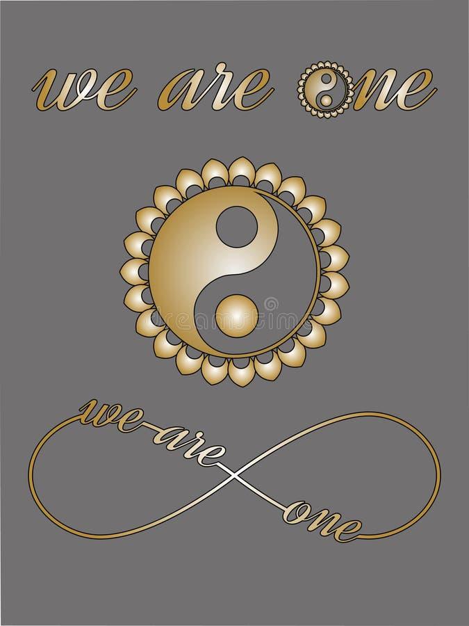 Ying Yang symbol, nieskończoność znak z miłość tekstem jesteśmy jeden, Ja kochamy was nutowa miłości karta royalty ilustracja