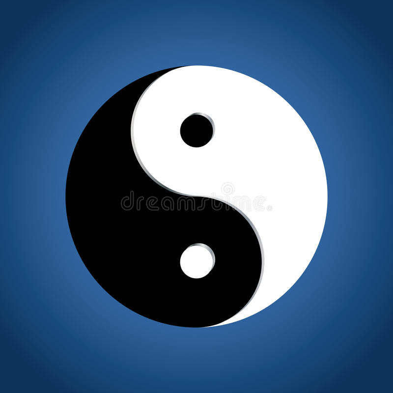 Free Ying Yang Symbol On Blue Background Stock Images - 12275864