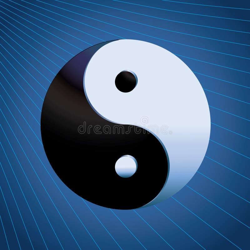 Free Ying Yang Symbol On Blue Background Stock Image - 12275871