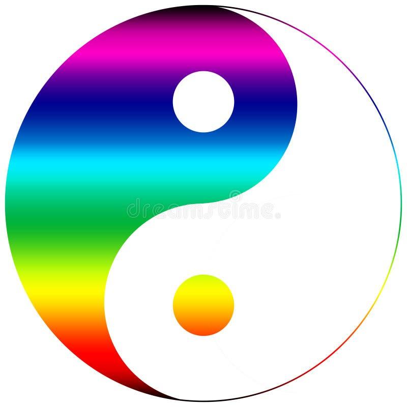 Ying yang symbol rainbow. Multicolor royalty free illustration