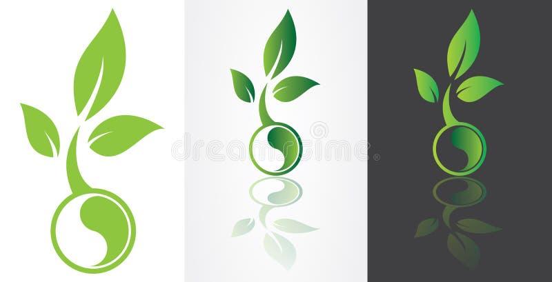 Ying yang symbolism with green leaf vector illustration