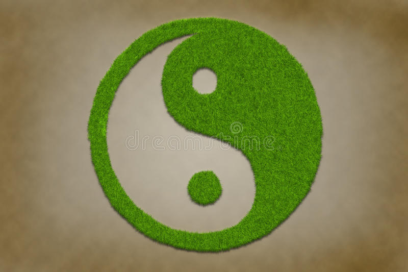 Yinyang symbol from grass. On a grungy vintage texture vector illustration