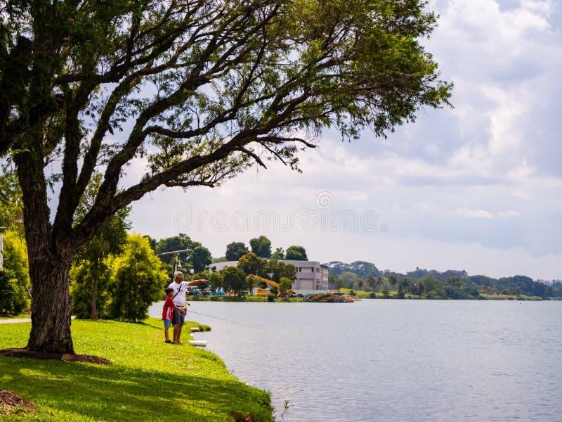 YISHUN NATURE PARK, SINGAPORE – 25 DEC 2019 – Father and son fishing at Yishun Nature Park, near Yishun dam, part of the. YISHUN NATURE PARK stock photos
