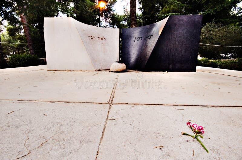 Yitzhak en het graf van Leah Rabin's op Onderstel Herzl, Jeruzalem royalty-vrije stock afbeelding