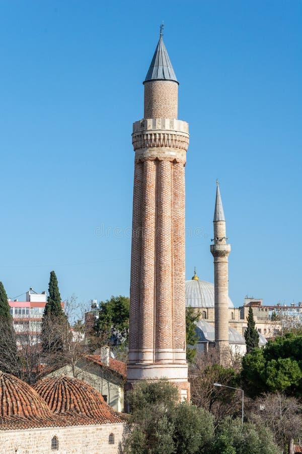 Yivli Minare in Antalya, Turkije royalty-vrije stock afbeelding