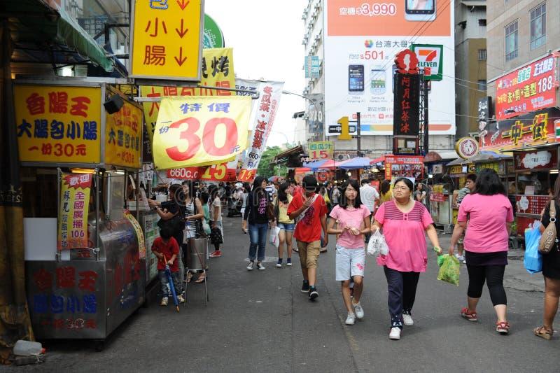 Yizhong晚上市场街道视图  库存照片