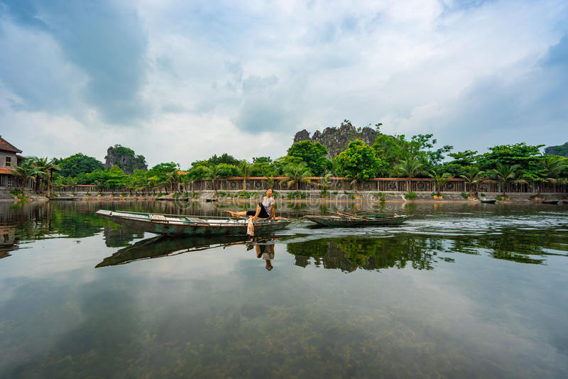 Żyjący w Trang Ninh Binh, Wietnam obrazy royalty free