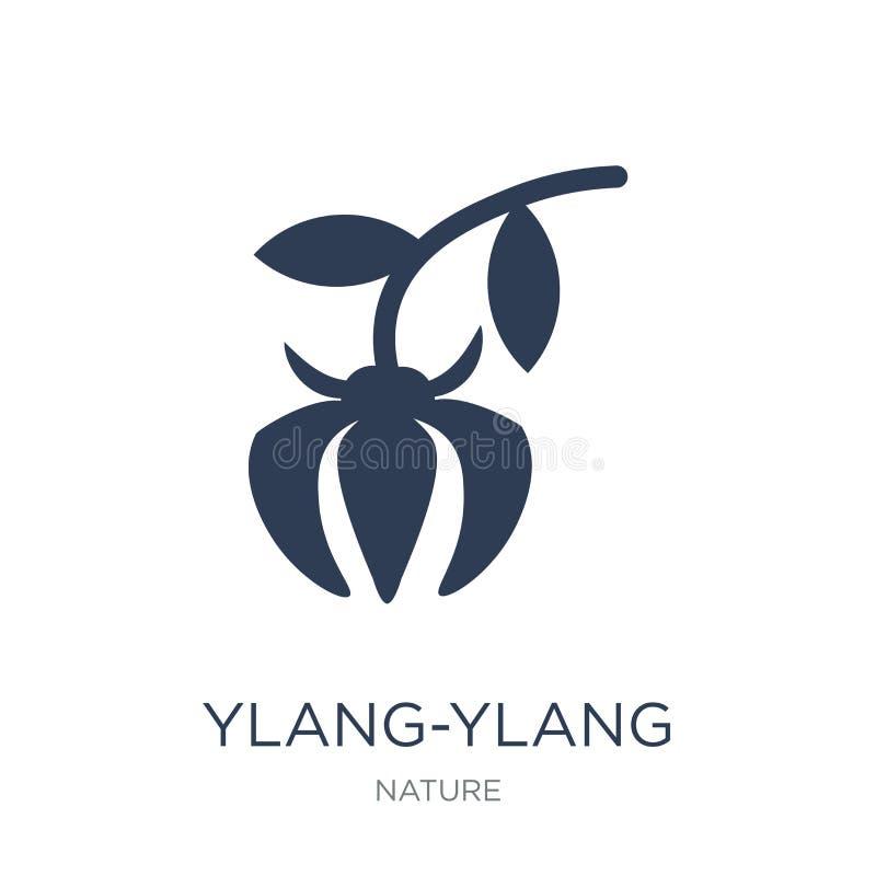 Ylang-ylang εικονίδιο Καθιερώνον τη μόδα επίπεδο διανυσματικό Ylang-ylang εικονίδιο στο άσπρο β ελεύθερη απεικόνιση δικαιώματος