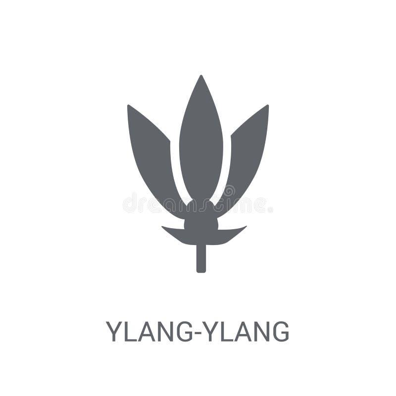 Ylang-ylang εικονίδιο Καθιερώνουσα τη μόδα Ylang-ylang έννοια λογότυπων στο άσπρο backg απεικόνιση αποθεμάτων