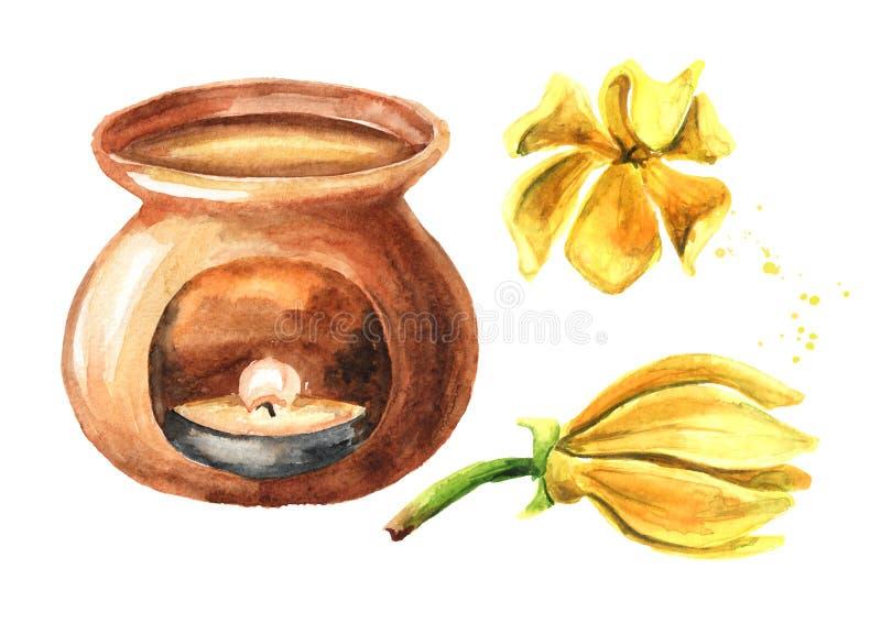 Ylang-Ylang gelbe Blume und Aroma-Lampenset Cananga odroata Handgezeichnete Aquarellbilder im weißen Hintergrund stock abbildung