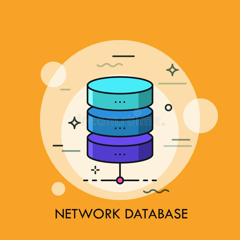 Ylinder in drie kleurrijke horizontale delen wordt verdeeld dat Concept netwerkgegevensbestand, structureel element van folder vector illustratie