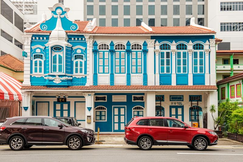 YMC art center, old colonial building in Singapore. Singapore - January 14, 2018: View from Waterloo St. at YMC art center, old colonial building in Singapore royalty free stock image