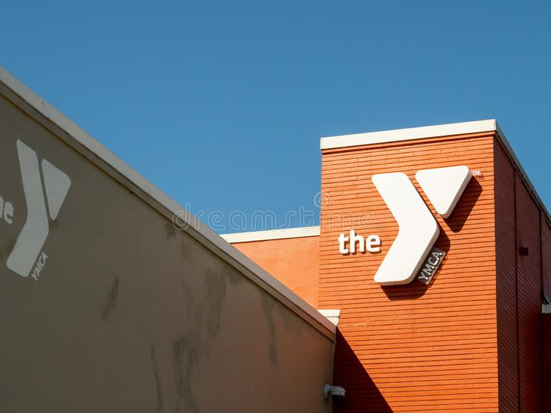 YMCA gym community center location entrance building and logo stock photography