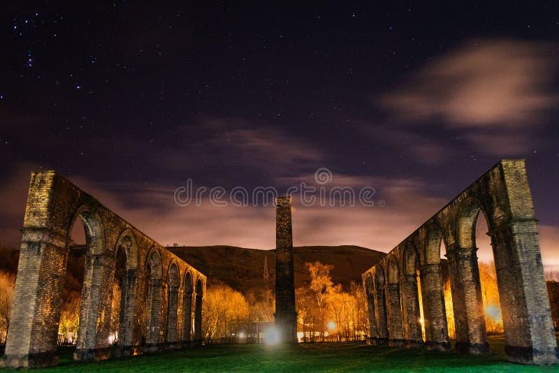 Ynyscedwyn ślusarstwa w nocnym niebie obraz stock