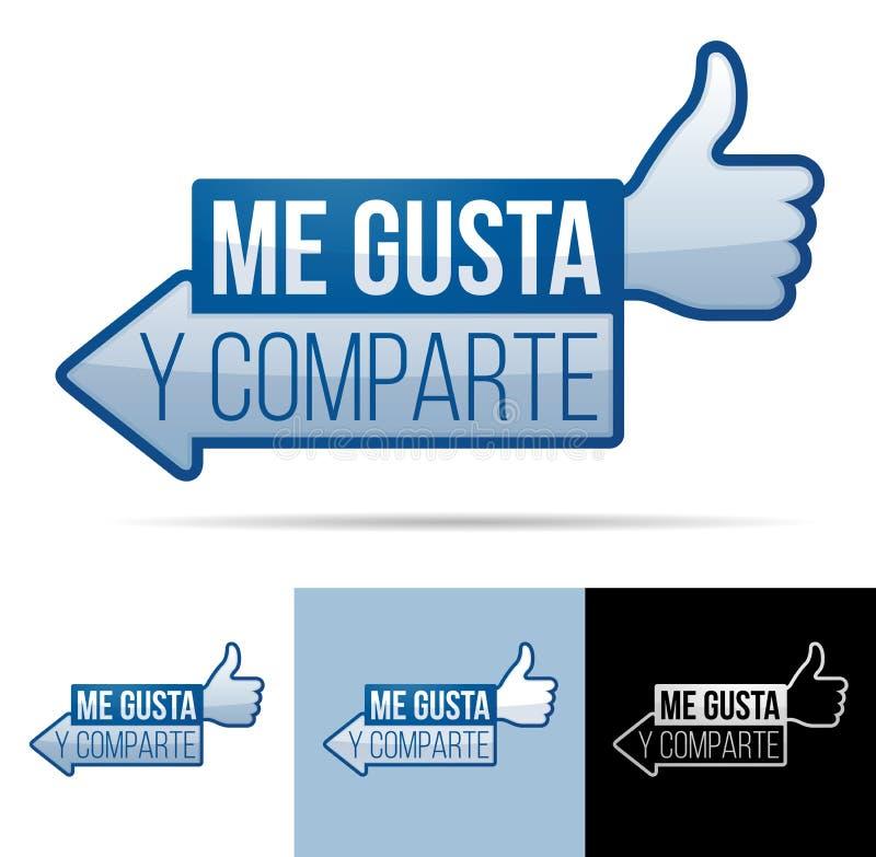 Yo Gusta Y Comparte stock de ilustración